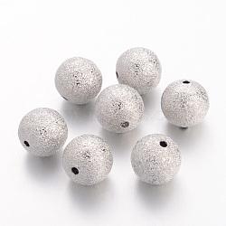 Perles en laiton texturées, sans nickel, rond, couleur de nickel, taille: environ 12mm de diamètre, Trou: 1.8mm(EC249-NF)