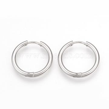 304 boucles d'oreilles en acier inoxydable, anneau, couleur inox, 15x2.5 mm; broches: 0.8 mm(X-MAK-R021-15mm)