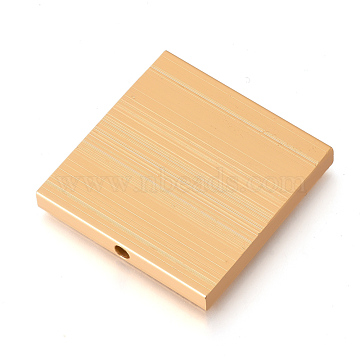 Eco-Friendly Aluminium Beads, Laser Cut Beads, Square, Gold, 40x39x5mm, Hole: 3mm(ALUM-Q001-26A)