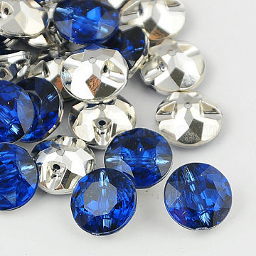 Taiwan Acrylic Rhinestone Buttons, Faceted, 1-Hole, Flat Round, Blue, 11.5x6mm, Hole: 1mm(BUTT-F020-11.5mm-04)