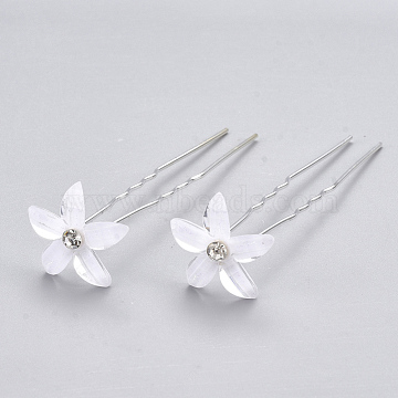 Iron Hair Forks, with Rhinestone and Lampwork, Flower, Silver Color Plated, 67~68mm(OHAR-T005-01)