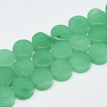 10mm Green Flat Round White Jade Beads