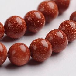 """Chapelets de perle en goldstone synthétique, teint, rond, 4mm, trou: 1mm; environ 100 pcs/chapelet, 14.9""""(G-J333-08-4mm)"""