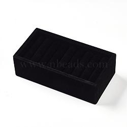 Anneaux de bois affiche, de velours, noir, 19.5x10x6 cm(RDIS-WH0002-01)