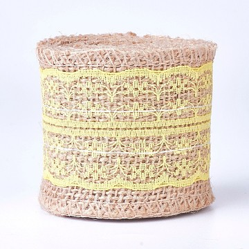 Burlap Ribbon, Hessian Ribbon, Jute Ribbon, with Lace, for Jewelry Making, Yellow, 2-1/8 inches(55mm), about 2m/roll(OCOR-WH0006-01D)