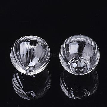 (Same Sku: BLOW-R003-16mm-01) Handmade Blown Glass Globe Bottles, for Glass Vial Pendants Making, Pumpkin, Clear, 16x14~15mm, Half Hole: 5mm(BLOW-T001-03)