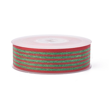 Polyester Ribbon, Striped Pattern, Dark Olive Green, 15mm, about 100yards/roll(91.44m/roll)(SRIB-L049-15mm-C003)