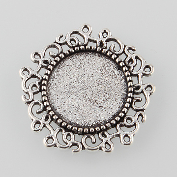Tibetan Style Alloy Flower Tray Cabochon Settings, Cadmium Free & Lead Free, Antique Silver, Tray: 14mm, 24x24x2mm(X-TIBE-M021-03AS)