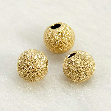 Yellow Gold Filled Textured Beads, 1/20 14K Gold Filled, Cadmium Free & Nickel Free & Lead Free, Round, 6mm, Hole: 1mm(X-KK-G155-6mm-2)