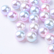 Rainbow Acrylic Imitation Pearl Beads(X-OACR-R065-5mm-02)-1