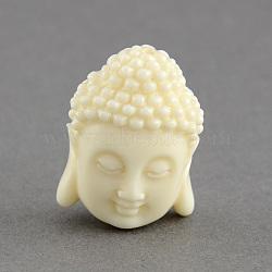 Perles de corail synthétiques, tête de bouddha, blanc, 15.5x11x6mm, Trou: 1.5mm(CORA-S003-15mm-01)