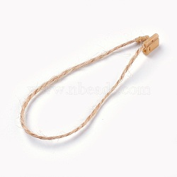 Jute Twine, with Seal Tag, Plastic Hang Tag Fasteners, BurlyWood, 180x1mm(X-CDIS-WH0006-02)