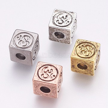 Brass Beads, Cube with Om Symbol, Mixed Color, 8x8x8mm, Hole: 3mm(X-KK-K228-07)