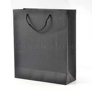 Rectangle Kraft Paper Bags, Gift Bags, Shopping Bags, with Nylon Cord Handles, Black, 20x15x6cm(AJEW-L049A-01)