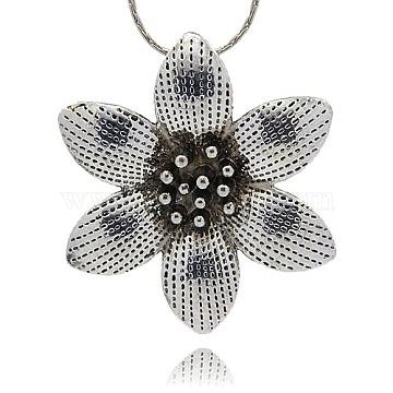 Antique Silver Flower Alloy Pendants