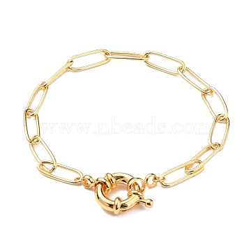 Iron Paperclip Chain Bracelets, with Brass Spring Ring Clasps, Golden, 8-1/8 inches(20.5cm)(BJEW-JB05629)