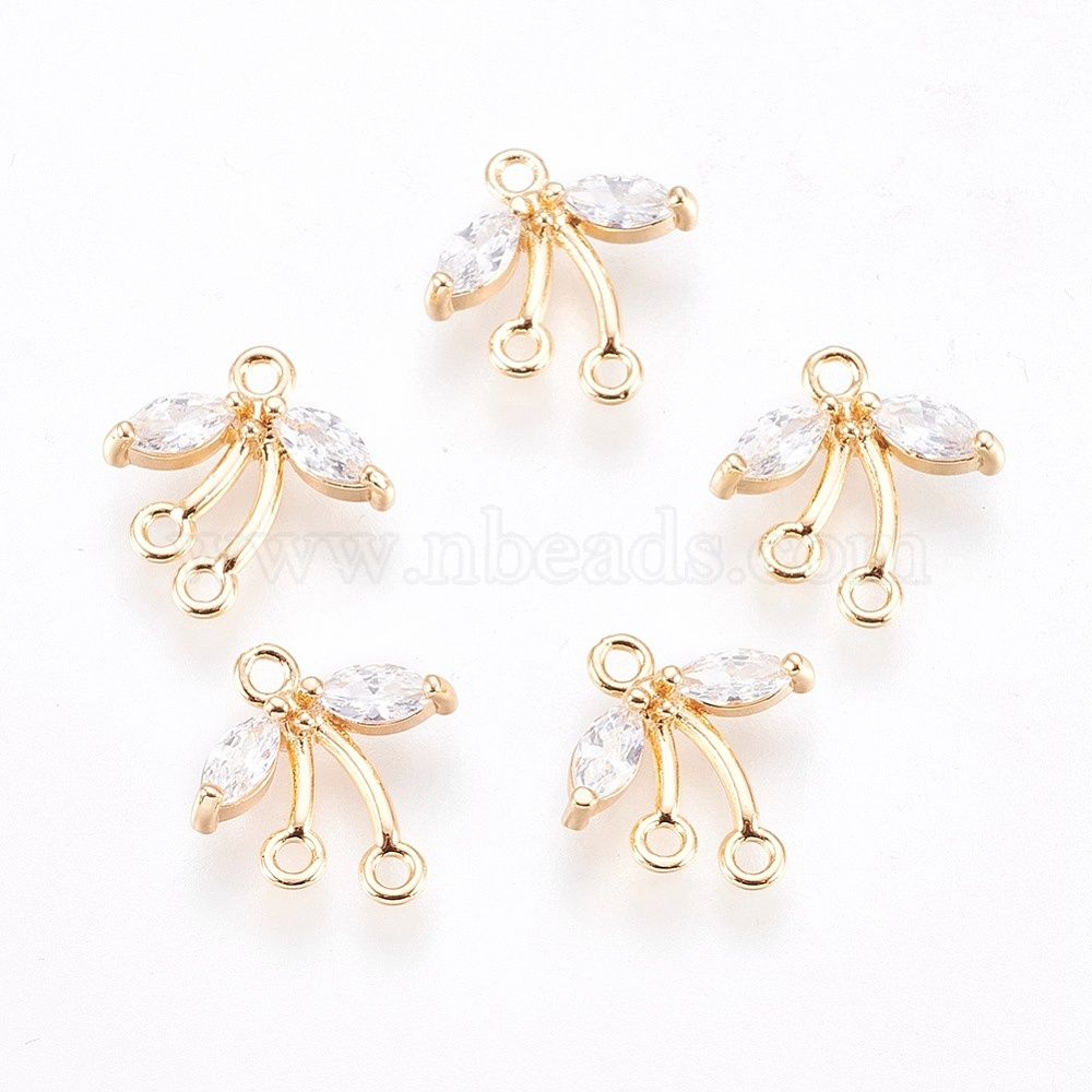 10 Pieces  C1015G-CR010 Round Brass Connector Brass Framed Cubic Zirconia Matte Gold Plated