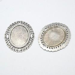 Сплав кабошон разъем сеттинг, DIY фурнитура для ювелиных изделий, без кадмия и без свинца и без никеля, античное серебро, 58x49x2 мм, отверстие : 6 мм, лоток : 37x28 мм(EA094Y-NF)