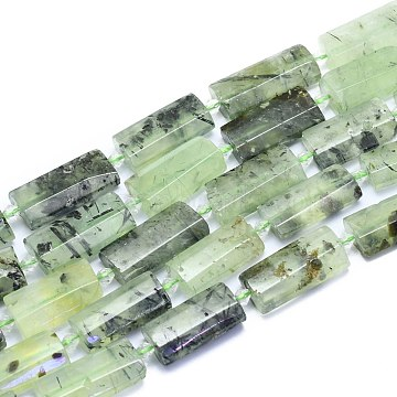 Natural Prehnite Beads Strands, Rectangle, Faceted, 27~29x13~14x6~7mm, Hole: 1.5mm; about 12pcs/Strand, 14.96 inches(38cm)(G-E530-16W)