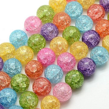 Synthetic Crackle Quartz Round Beads Strands, Dyed & Heated, Mixed Color, 10mm; about 43pcs/strand, 16.14inches(G-L155-10mm-01)