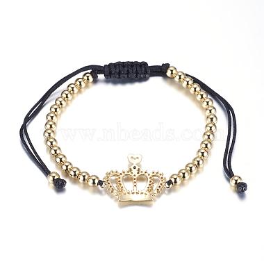 Adjustable Brass Braided Beaded Bracelets(BJEW-F282-26G-RS)-2