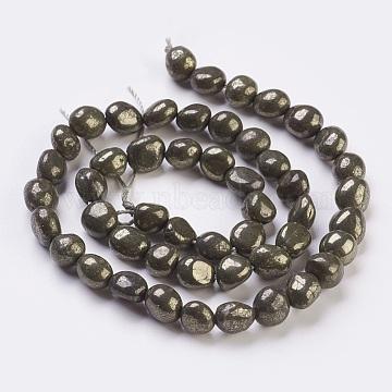 6mm DarkOliveGreen Nuggets Pyrite Beads