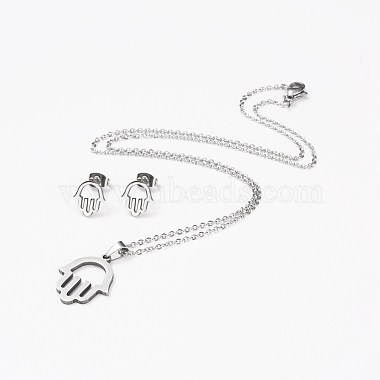 Religion 304 Stainless Steel Jewelry Sets(SJEW-D094-34P)-2