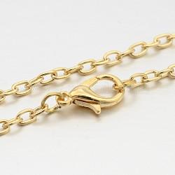 "Fer chaîne du câble étoffe collier, avec alliage homard fermoirs pince, or clair, 29.1""(MAK-J009-38KCG)"
