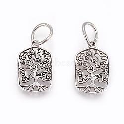pendants en alliage de style tibétain, rectangle avec arbre de vie, argent antique, 21x14x1.5 mm, trou: 7 mm(X-PALLOY-F224-02AS-08)