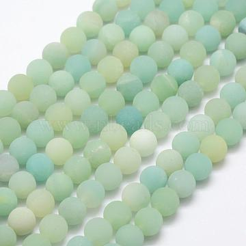 Natural Amazonite Beads Strands, Frosted, Round, 8~9mm, Hole: 1mm; about 47pcs/strand, 15.1 inches(G-K209-03A-8mm)
