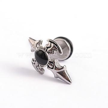 Black Stainless Steel Stud Earrings