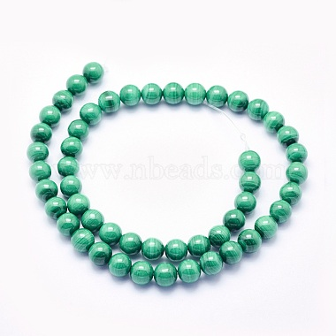 Natural Malachite Beads Strands(G-O166-07A-8mm)-2