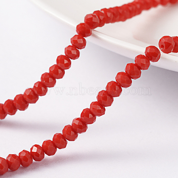 White 100 4 mm abacus has red faceted crystal glass beads