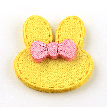 Bunny Faux Suede Cord Woven Costume Accessories, Rabbit Head with Bowknots, Yellow, 34x28x5mm(X-WOVE-R098-88D)
