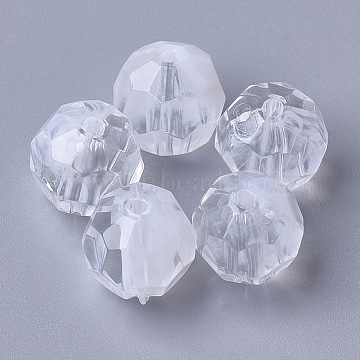 Acrylic Beads, Imitation Gemstone, Faceted, Round, Clear & White, 12mm, Hole: 1.8mm(X-OACR-T006-186D-01)