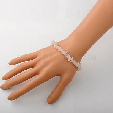 Rose Quartz Chips Stretch Bracelets(X-BJEW-JB01308-01)-2