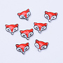 Alloy Cabochons, with Enamel, Fox Head, Gunmetal, Red & White, 10x11x2.5mm