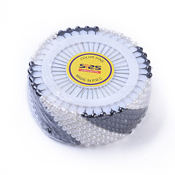broches de fer, avec de l'acrylique ronde, corsage broches / dress-goupilles, blanc et noir, platine, 35x0.5 mm; 40 PCs / ensemble(JT009-A)