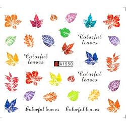 décalques d'art de transfert de l'eau de nail art, pour les décorations d'ongles, feuille d'érable, coloré, 6.125x5.3 cm(MRMJ-Q080-A1550)