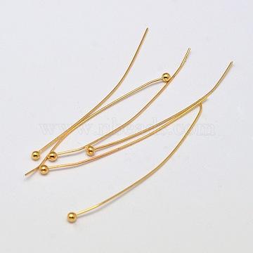 Brass Ball Head pins, Cadmium Free & Nickel Free & Lead Free, Real 18K Gold Plated, 39x0.4mm, Head: 2mm(X-KK-L137-15G-NR)