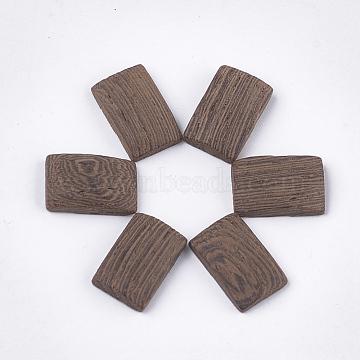 Wenge Wood Cabochons, Undyed, Rectangle, Camel, 15x9~10x4mm(X-WOOD-S053-30)
