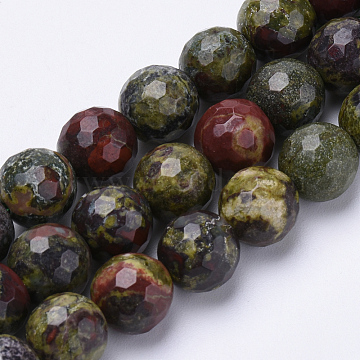 Natural Dragon Blood Beads Strands, Faceted, Round, 10mm, Hole: 1.2mm; about 37pcs/strand, 15.3inches(G-S281-25-10mm)