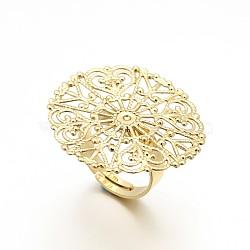 Laiton réglable composants de support de l'anneau en filigrane, bases de anneau de la nappe de fleurs, or, 17 mm; plateau: 31x0.8 mm(X-KK-L054-02)