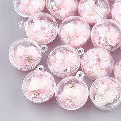 Пластиковые шариковые подвески, с раковиной и блестками, круглые, розовые, 36x30x30 мм, отверстие : 3 мм(MACR-S298-01E)