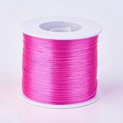 chaîne de cristal élastique plat, fil de perles élastique, pour la fabrication de bracelets élastiques, rose foncé, 0.3 mm; sur 500 m / rouleau(EW-F006-33)