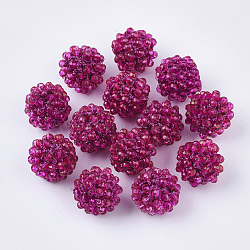 Handmade Glass Woven Beads, Ball Cluster Beads, with Copper Wire and Acrylic Beads inside, Round, DeepPink, 15mm(X-WOVE-N010-001E)
