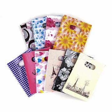 Printed Plastic Bags, Rectangle, Mixed Color, 18x13cm(X-PE-T003-13x18cm-M)