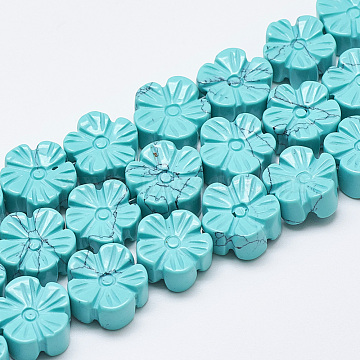 13mm Flower Synthetic Turquoise Beads