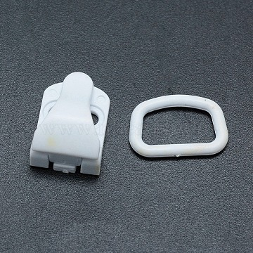 Environmental Sewable Plastic Clips and Rectangle Rings Sets, Belt Clips, White, 22mm, Hole: 4x12.5mm(KY-F011-06A)