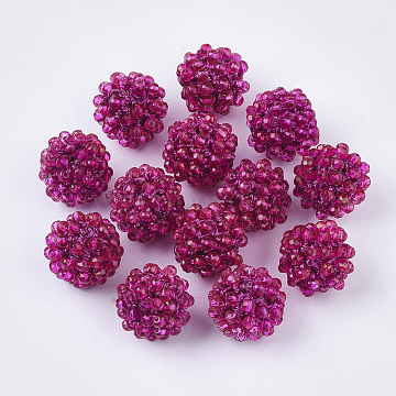 Handmade Glass Woven Beads, Ball Cluster Beads, with Copper Wire and Acrylic Beads inside, Round, Deep Pink, 15mm(X-WOVE-N010-001E)